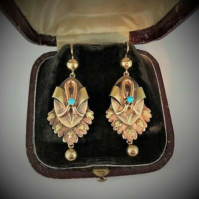 Antique Russian Turquoise Gold Long Dangle Earrings, stamped DATE 1879