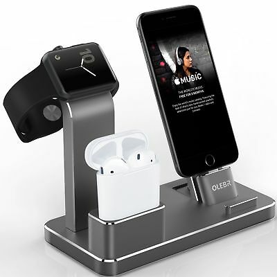 Apple Watch Stand Aluminum iPhone X/8 Plus Charging Dock Station AirPods Holder