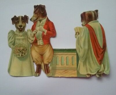 Great, Large, Emboss.Victorian Scrap of 'A Dogs Wedding! ' Approx. 17&1/2×12cms