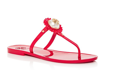 e1504fe8ec17 Tory Burch NIB Melody Nantucket Red Pearl Logo Flat Thong Sandals Size 8M   35915