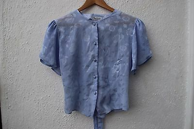 vintage blouse lilac 1980s cropped medium purple floral short sleeved top shirt