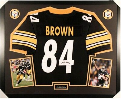 Antonio Brown Signed 35x43 Steelers Custom Framed Jersey  JSA Witnessed COA 9395a8958