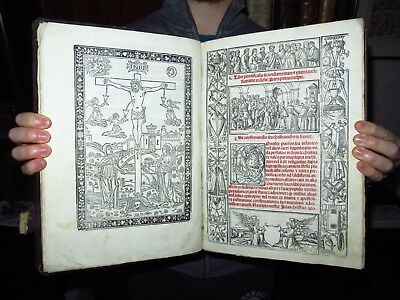 1543 ROMAN PONTIFICAL -Gregorian Chant- LITURGY -Folio- AMAZING WOODCUTS!!!!