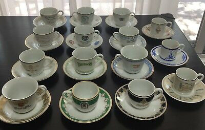 25 Demitasse Cups & 15 Matching Saucer Collection World Famous Restaurants