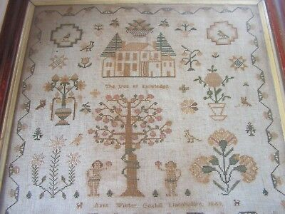 Victorian Embroidered Sampler By Anne Winter Goxhill Lincolnshire 1849 Adam Eve