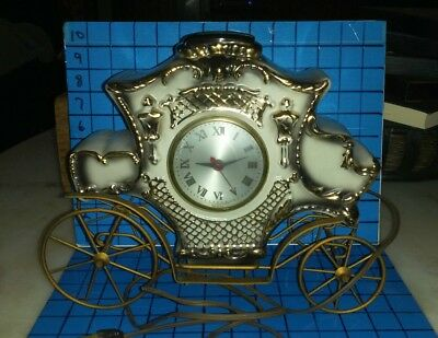 Vintage Carriage Clock Ceramic Top w/ metal Wire Welded Base Electric Works USA