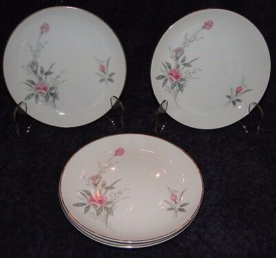 "FOUR Fine China of Japan Golden Rose Bread Plates 6 1/4"" (Set of 4) Excellent"