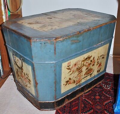 Antique hand painted Chinese camphor wood chest early 1800s detachable lid
