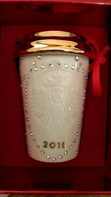 2016 Starbucks Swarovski Crystal Christmas Ornament - NIB