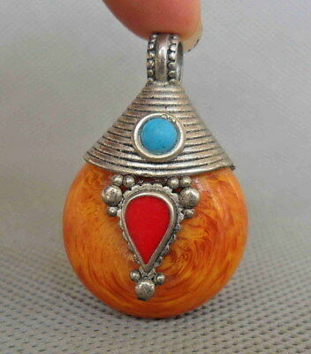 Chinese Tibetan Handwork Amber & Miao Silver Inlay Coral Turquoise Lucky Pendant