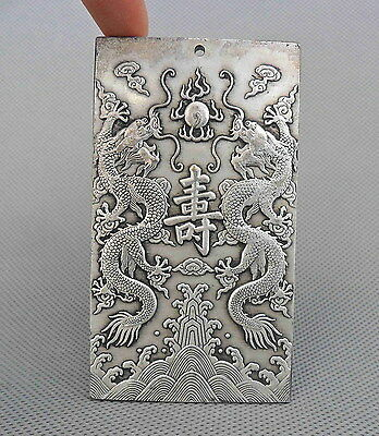Chinese Handwork Miao Silver Carved Dragons & 12 Zodiac Auspicious Royal Pendant