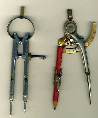 Lot of 2 Vintage Pencil & Quill Pen Drafting Compass Drawing Instrument Metal