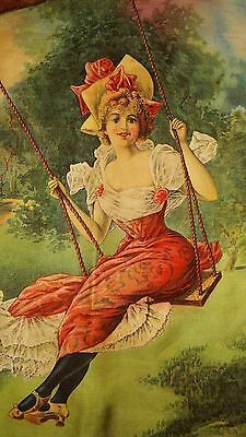 1901 Antique Vintage Hayes Lithograph Buffalo NY Girl In Swing On Textile Cloth