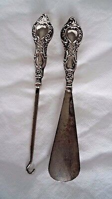 Antique Chester 1916 Sterling / Solid Silver Shoe Horn & Button Hook