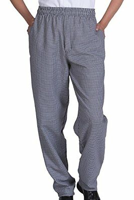 New Men Contemporary Black/White Check Baggy Chef Pants Size XS-XL