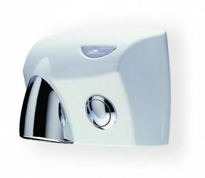 Jd Macdonald Touchdry Push Button Hand Dryer White With Silver Gloss Nozzle And