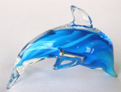 Small Blue Layered Glass Dolphin - Nice Gift Idea! New