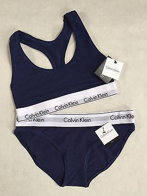 Calvin Klein 2pc Underwear Navy Blue Sports Bra Bralette & Bikini Thick Band Set