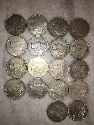 27 CIRCULATED MIXED DATE PEACE SILVER  DOLLARS 90% Silver 24 Peace 3 Morgans
