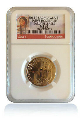 NGC MS67 2014-P Native American Hospitality Sacagawea Dollar Early Releases Gem