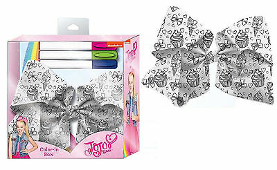 Jo Jo Siwa Colour Me in Hair Bow White XL JoJo Bow Charm & 3 Markers