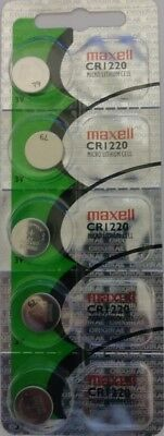 5 Maxell CR1220 Lithium Battery. Hologram Package 3V.