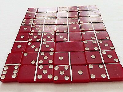 Vintage Red Professional Marblelike Double Six Dominoes Puremco USA Made