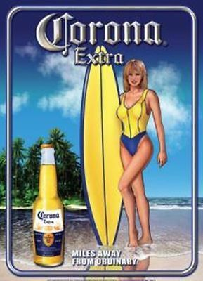 Corona Beer Surfer Girl 12 X 17 Metal Sign