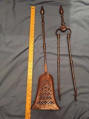 Antique 19th Century Hand Forged Iron Fireplace Tongs & Shovel Mantle Tools