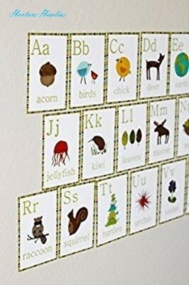 English Alphabet 5x7 Wall Cards, Nature Themed, Kid's Wall Art, Nursery Decor, K