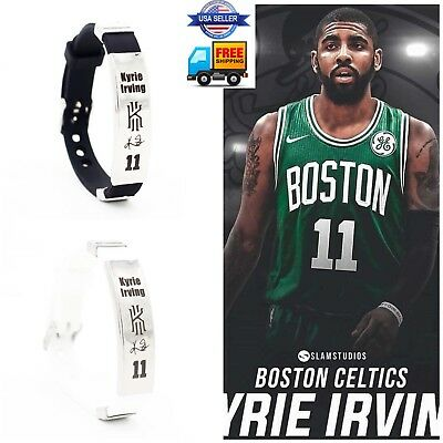 NBA Boston Kyrie Ivring Wristband Adjustable Silicone Silver Bracelet US SELLER
