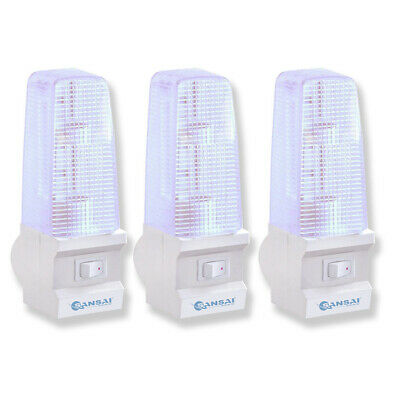 3PK Sansai Switched Low Level Night Light 7W Home Bedroom/Hallway Safety Lamp