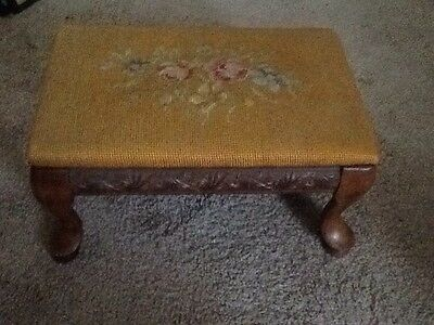 Antique Embroidered Walnut Footstool With Beautiful Carved Design