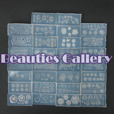 30pc DIY Nail Art Tips 3D UV Gel Acrylic Powder Silicon Mould Set Decoration Kit