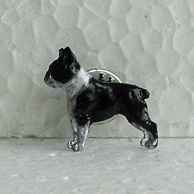 Boston Terrier Black White Lapel Pin Dog Breed Jewellery Handpainted Handcrafted