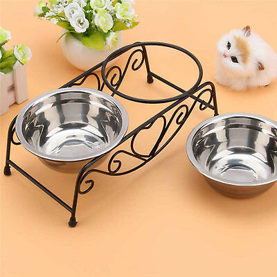 Double Cat Dog Pet Bowls Dish Stainless Steel Stand Feeder Food Water Iron Bowl