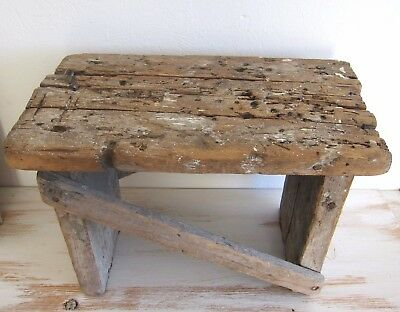 Vintage Old Wood Wooden Bench Step Stool Rustic Primitive Country Milking