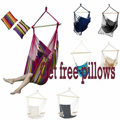 Hanging Rope Hammock Chair Swing Seat with Cushion for Garden Outdoor Camping