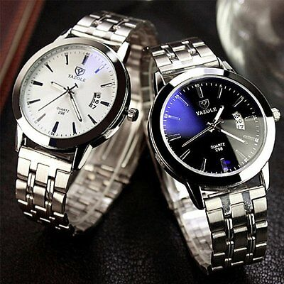 Fashion Men's Luxury Date Stainless Steel Band Quartz Sport Analog Wrist Watch