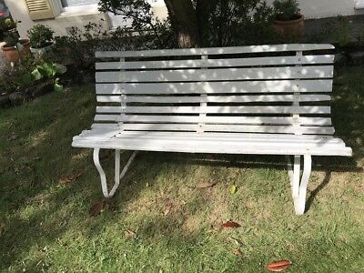 VINTAGE TIMBER SLAT WROUGHT IRON BENCH SEAT 50s 60s with new replacement timbers