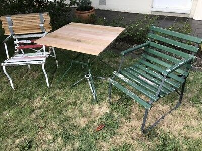Old Retro / Vintage 3 Piece Outdoor Setting - New Timber Slats / Wrought Iron
