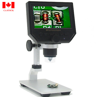 "4.3"" LCD 1-600X Desktop 8LED Studio Lab USB 3.6MP Digital MicroScope CA Shipment"