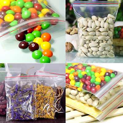100pcs 5Sizes Ziplock Zip Zipped Lock Reclosable Plastic Poly Clear Seal Bags FR