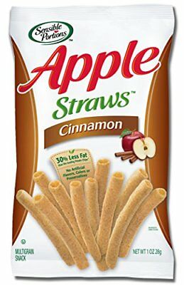 Sensible Portions Apple Straws, Cinnamon, 1 Ounce (Pack of 24)