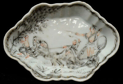 An old Chinese porcelain grisaille style deecorated saucer / spoon tray