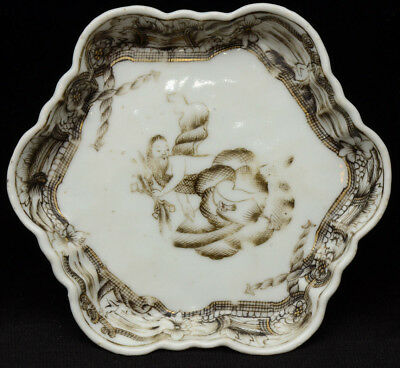 An old Chinese porcelain grisaille style deecorated saucer / pot stand