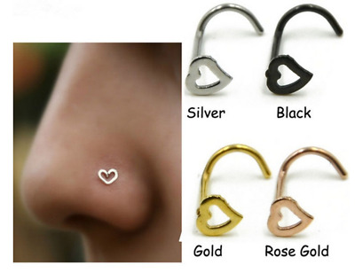 1Pcs Punk Heart Nose Rings Multicolor Gothic Clip On Piercing Body Nose Rings