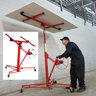 Moveable 11ft Drywall Lift Plaster Board Panel Hoist Jack Lifter Tool with Wheel