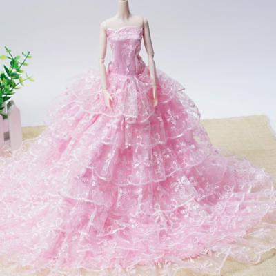 Pink Wedding Dress Fashion Party Clothes/Gown+Veil Princess For Barbie Doll Pop
