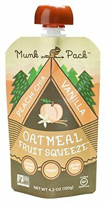Munk Pack Oatmeal Fruit Squeeze | Peach Chia Vanilla, Ready-to-Eat Oatmeal On...